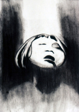 Black and White Charcoal Drawing of a child